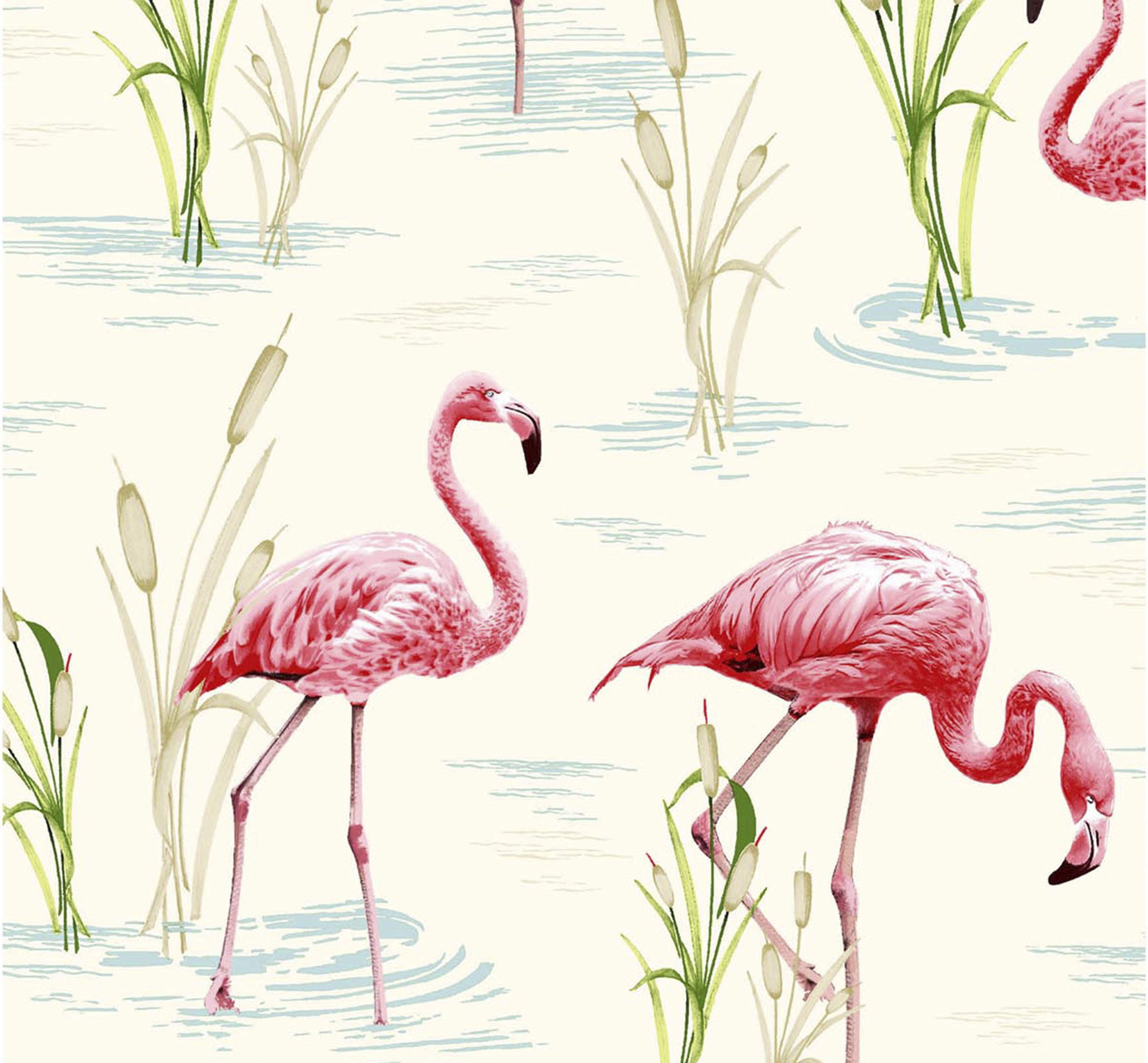 Blue Med Flamingo Wallpaper Paper Moon